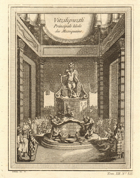 Associate Product 'Vitzilipuztli'. Sacrifice to the Aztec god Huitzilopochtli 1754 old print
