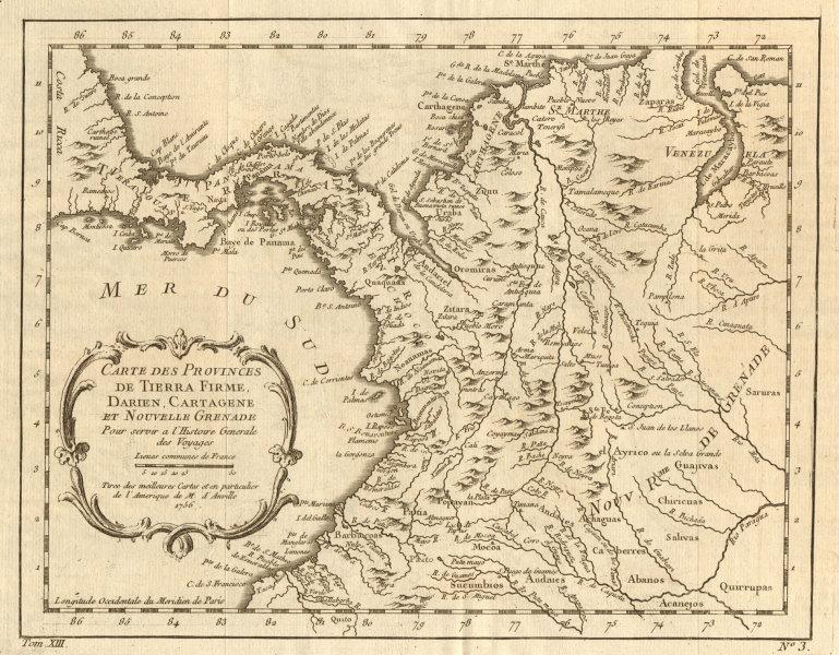 Associate Product 'Carte des Provinces de Tierra Firme, Darien…' Panama Colombia. BELLIN 1756 map