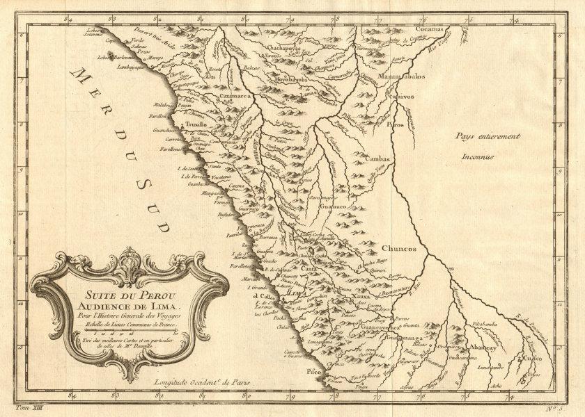 Associate Product 'Suite du Perou. Audience de Lima'. Northern Peru Pisco-Chiclayo BELLIN 1756 map