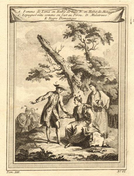 Associate Product Peru 18C dress & costume. Women of Lima. Mulatto. Domestic negro 1756 print
