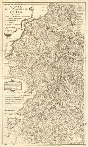 Associate Product 'Carte de la Province de Quito au Perou'. Western Ecuador. BELLIN 1756 old map