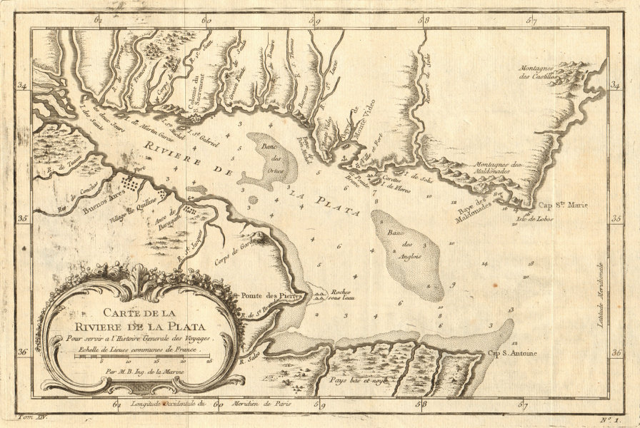 Associate Product 'Carte de la Rivière de la Plata'. River Plate Argentina Uruguay BELLIN 1757 map