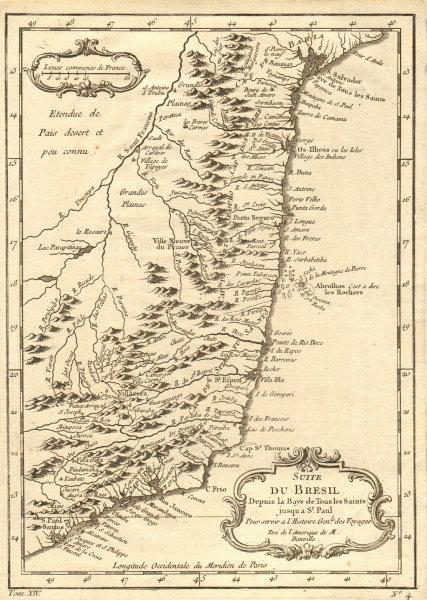 Associate Product 'Suite du Brésil depuis…' Northern Brazil. Salvador-Sao Paolo. BELLIN 1757 map