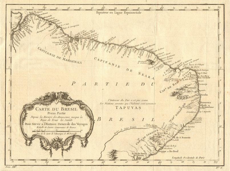 Associate Product 'Carte du Brésil Prem. Partie…' Northern Brazil Amazon-Salvador. BELLIN 1757 map