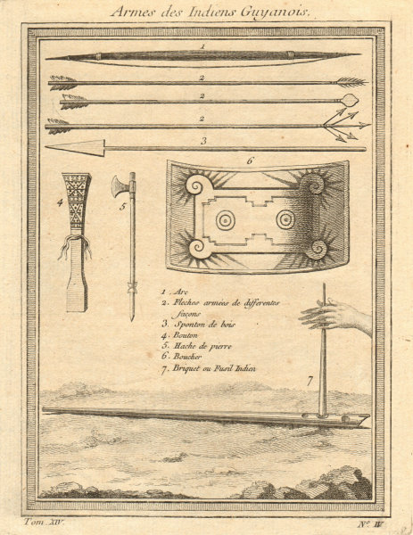 Associate Product 'Armes des Indiens Guyanois'. Guyanas Native American Indians' weapons 1757