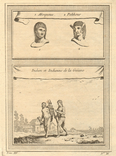 Indigenous people of the Guyanas, Amapa & Roraima. Akawaio. Palikur 1757 print