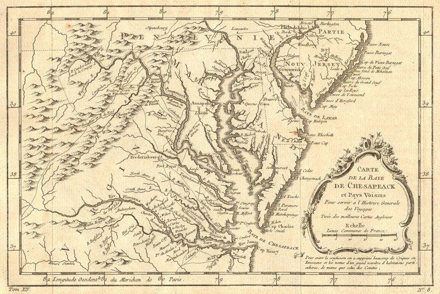 Associate Product 'Carte de la Baye de Chesapeak…' Chesapeake Bay. MD NJ Virginia. BELLIN 1757 map