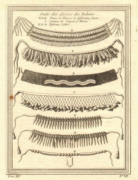 Associate Product 'Suite des différents Atours des Indiens'. Native American Indians costumes 1757
