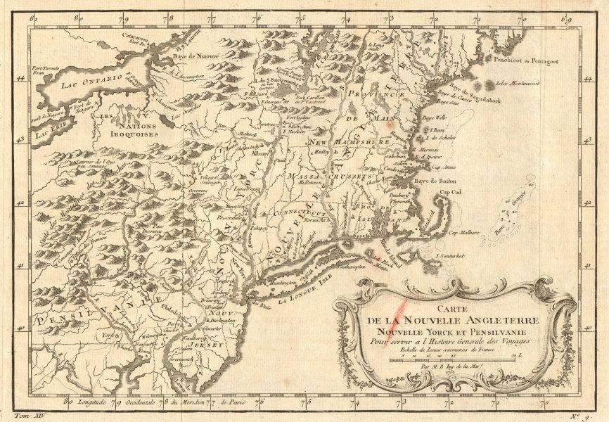 'Carte de la Nouvelle Angleterre, Nouvelle York et Pensilvanie'. BELLIN 1757 map