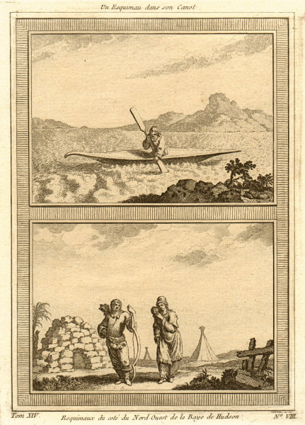 Associate Product An Eskimo in his canoe. Eskimos of the North-West part of Hudson's Bay 1757