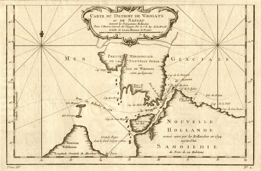 Associate Product 'Carte du Détroit de Waeigats ou… Nassau'. Novaya Zemlya Arctic. BELLIN 1759 map