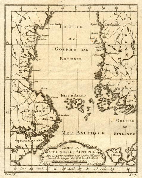 Associate Product 'Carte du Golphe de Bothnie'. Gulf of Bothnia. Sweden Finland. BELLIN 1759 map