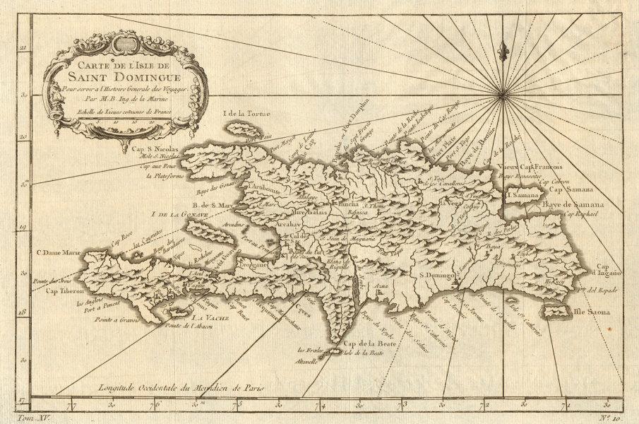 Associate Product 'Carte de l'Isle de Saint Domingue'. Hispaniola. Dominican Rep. BELLIN 1759 map