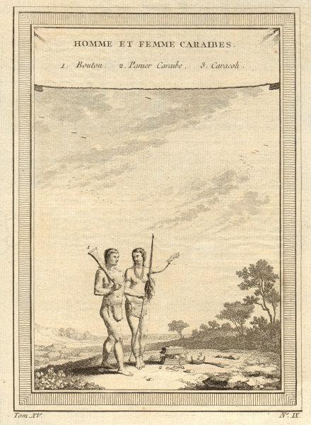 Associate Product 'Homme et Femme Caraïbes'. Carib man & woman. Caribbean. Basket Caracoli 1759
