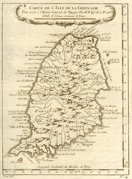 Associate Product 'Carte de l'Isle de la Grenade'. Grenada. West Indies. BELLIN 1759 old map