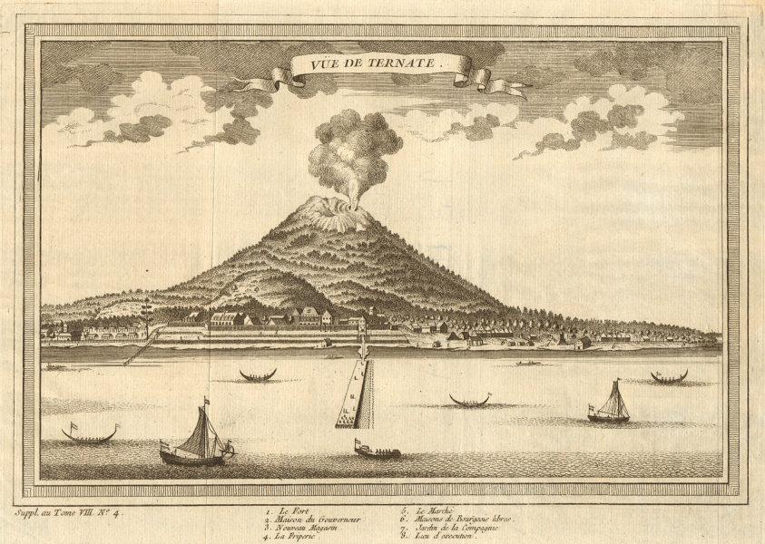 Associate Product View of Ternate town & Gamalama volcano, Molucca Maluku islands. Indonesia 1761