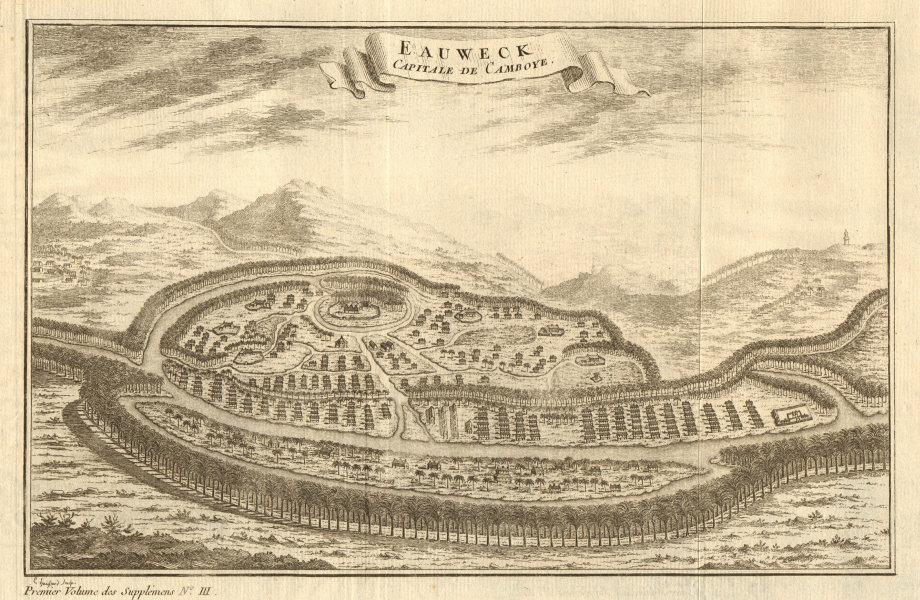 Associate Product 'Eauweck, Capitale de Camboye'. Plan/view of Longvek, Cambodia. BELLIN 1761 map