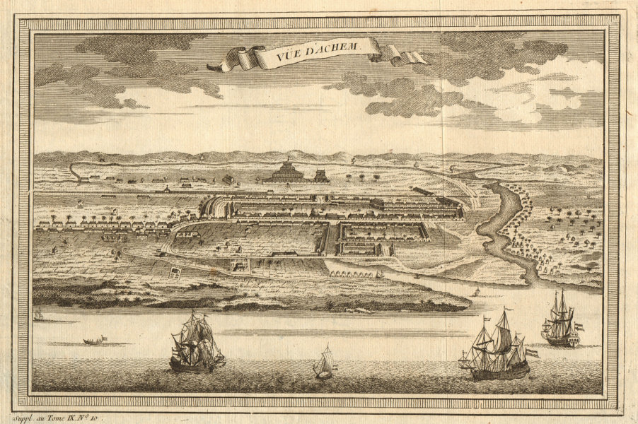 'Vue d'Achem'. View of Kutaraja (Banda Aceh), Sumatra. East Indies 1761 print