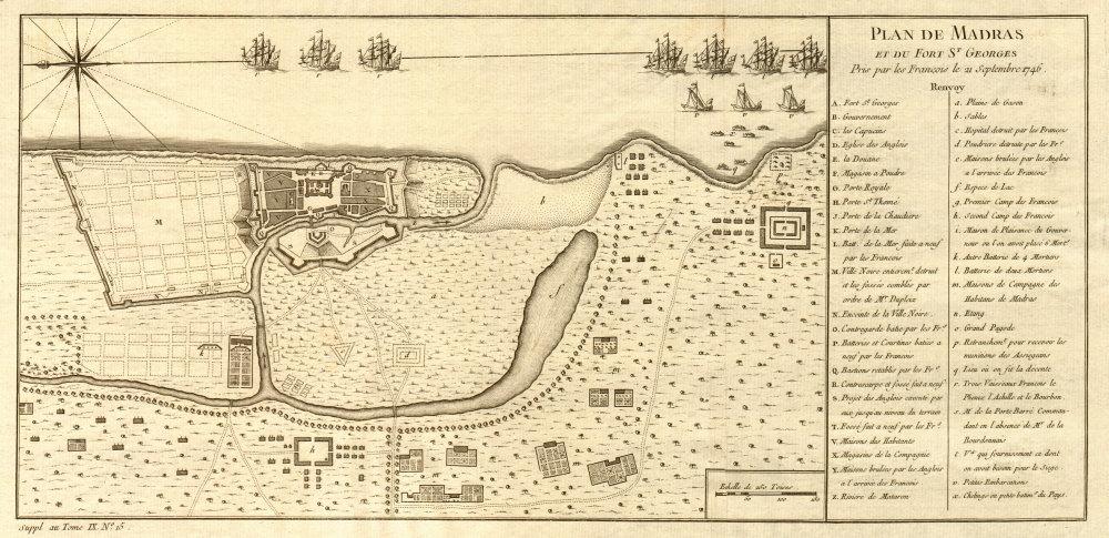 Associate Product 'Plan de Madras et du Fort St. Georges'. Plan of Madras/Chennai. BELLIN 1761 map