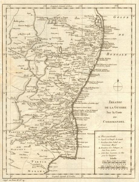 Associate Product 'Thèatre de la guerre sur la Coste de Coromandel'. Tamil Nadu. BELLIN 1761 map