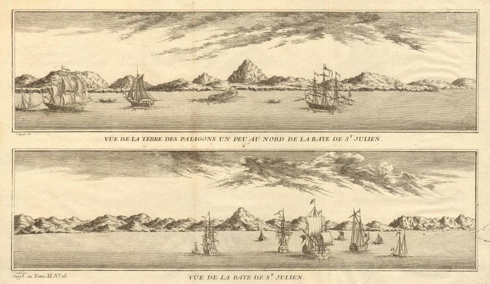 Associate Product Patagonia coast profile. Puerto San Julian bay. Argentina. Anson's voyage 1761