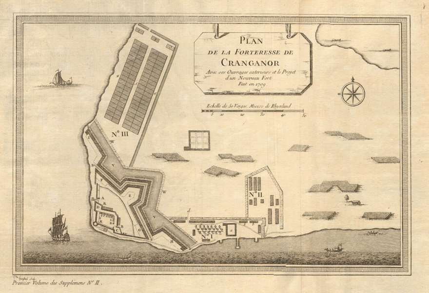 Associate Product 'La Forteresse de Cranganor'. Kodungallur Fortress Kerala India. BELLIN 1761 map