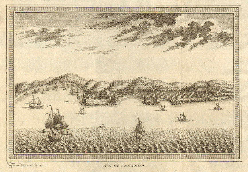 Associate Product 'Vue de Cananor'. View of Kannur from the sea, Kerala, India 1761 old print