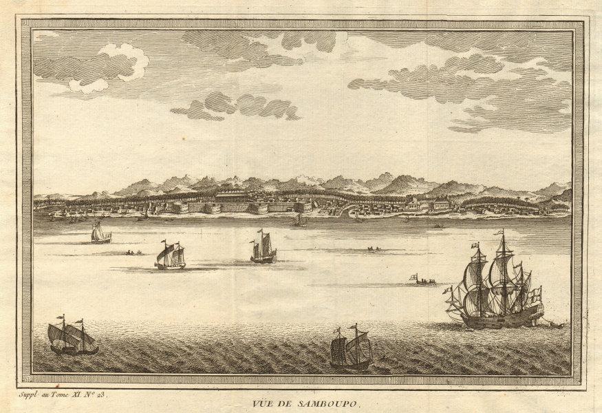 Associate Product 'Vue de Samboupo'. View of Makassar, Sulawesi, Indonesia. Celebes 1761 print