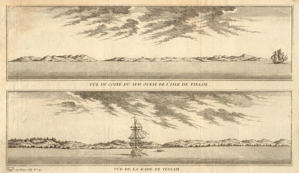 Associate Product Micronesia. Tinian coast profiles, Northern Mariana Islands. Anson's voyage 1761