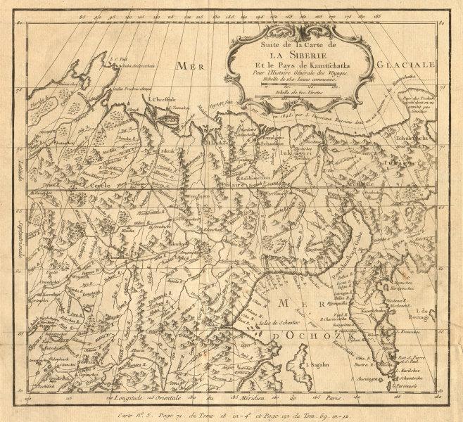 'Suite de la Carte de la Sibérie et le Pays de Kamtschatka''. BELLIN 1768 map
