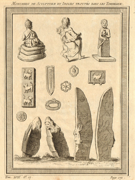 Associate Product Sculptures and idols found in the Krasnoyarsk megaliths, Russia 1768 old print