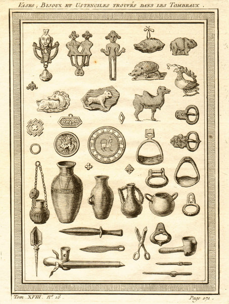 Associate Product Vases, jewellery and tools found in Krasnoyarsk megaliths, Russia 1768 print