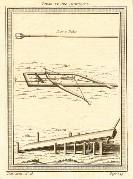 Associate Product 'Piège et Arc Automate'. Mechanical trap and cross bow with arrow, Russia 1768
