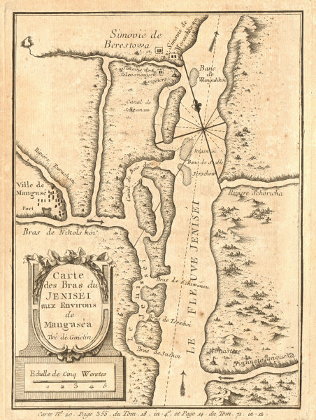 Associate Product The tributaries of the Yenisei River around Mangazeya, Russia. BELLIN 1768 map