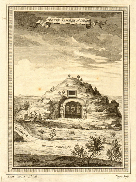 Cave filled with idols on the banks of the Yenisei river, Russia 1768 print