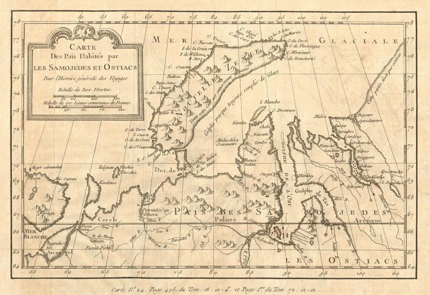 Associate Product 'Païs Habités par les Samojedes & Ostiacs' Novaya Zemlya Siberia BELLIN 1768 map