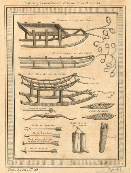 Associate Product Nartes, sledges and bows & arrows of the Khanty (Ostyaks), Siberia, Russia 1768