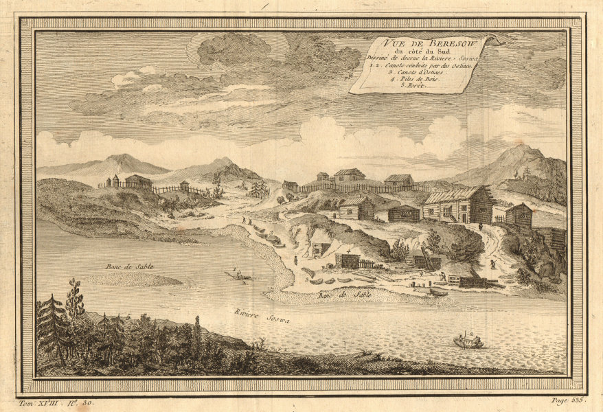 Associate Product View of Beryozovo from the south. Severnaya Sosva river. Russia 1768 old print