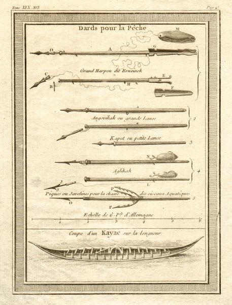 'Dards pour Pêche'. Greenlanders' fishing harpoons & kayak / canoe 1770 print