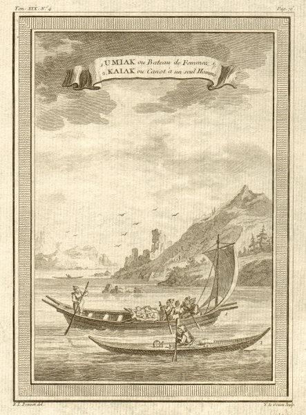Associate Product Umiak ou Bateau de Femmes. Kaiak ou Canot à un seul Homme. Kayak. Greenland 1770