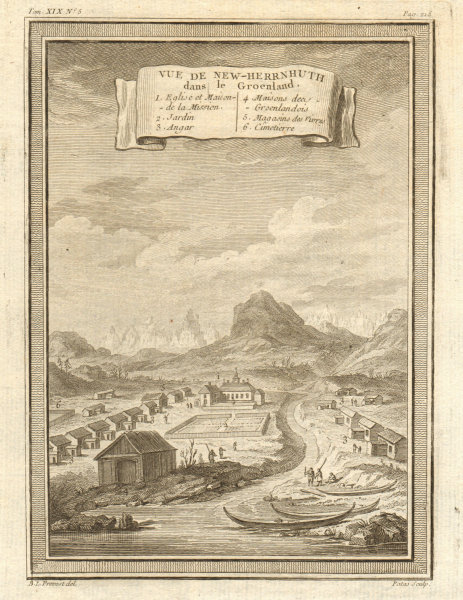 Associate Product 'Vue de New-Herrnhuth dans le Groenland'. View of Old Nuuk, Greenland 1770