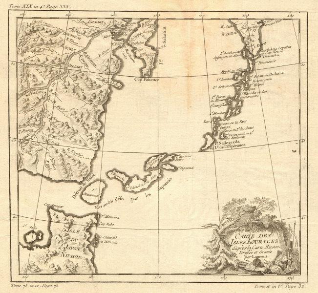 Associate Product 'Carte des Isles Kouriles…' Kurile islands & Hokkaido. LAURENT / BELLIN 1770 map