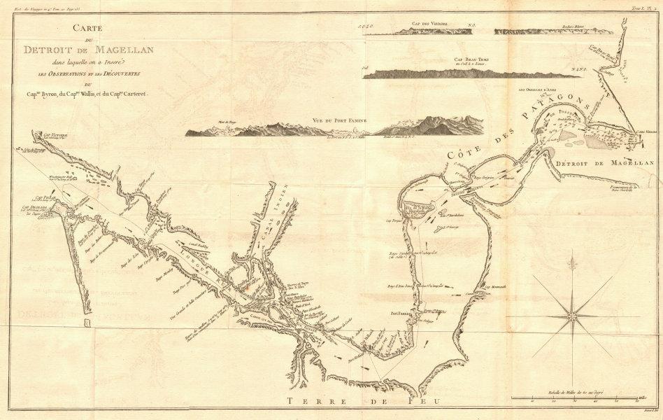 'Carte du Détroit de Magellan…' Strait. Wallis Byron. COOK/BENARD 1789 old map