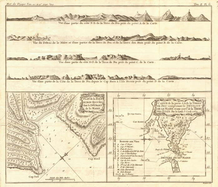 Associate Product Tierra del Fuego coast profiles. Bay of Good Success. COOK/BENARD 1789 old map