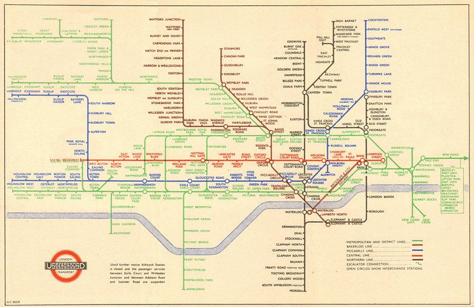 Associate Product LONDON UNDERGROUND tube map plan. Middle Circle. Addison/Uxbridge Rd. BECK 1945