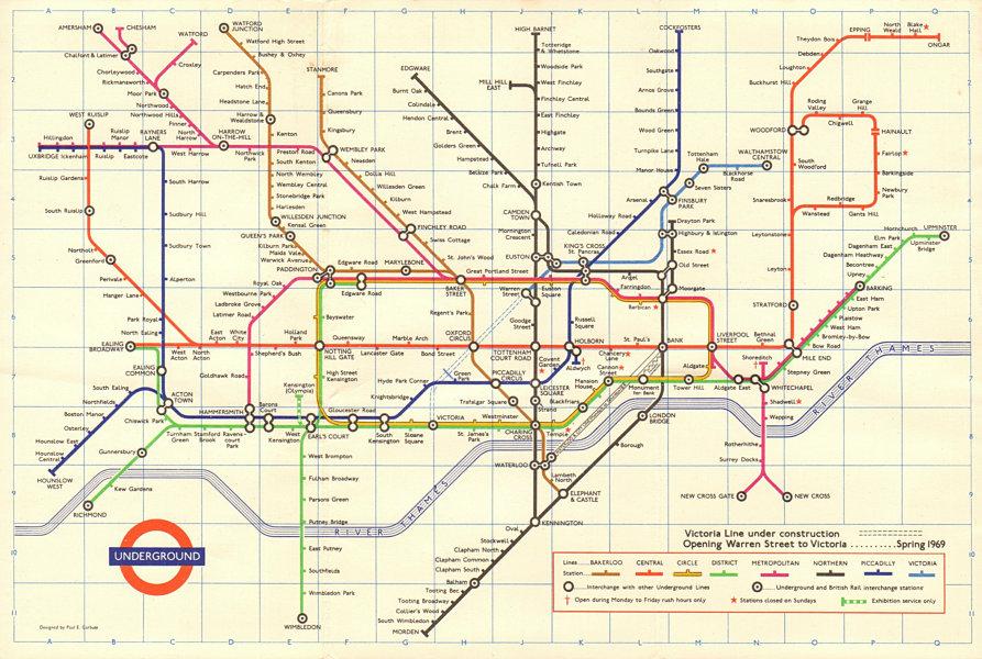 Associate Product LONDON UNDERGROUND tube map plan. Victoria Line u/ construction. GARBUTT #3 1968