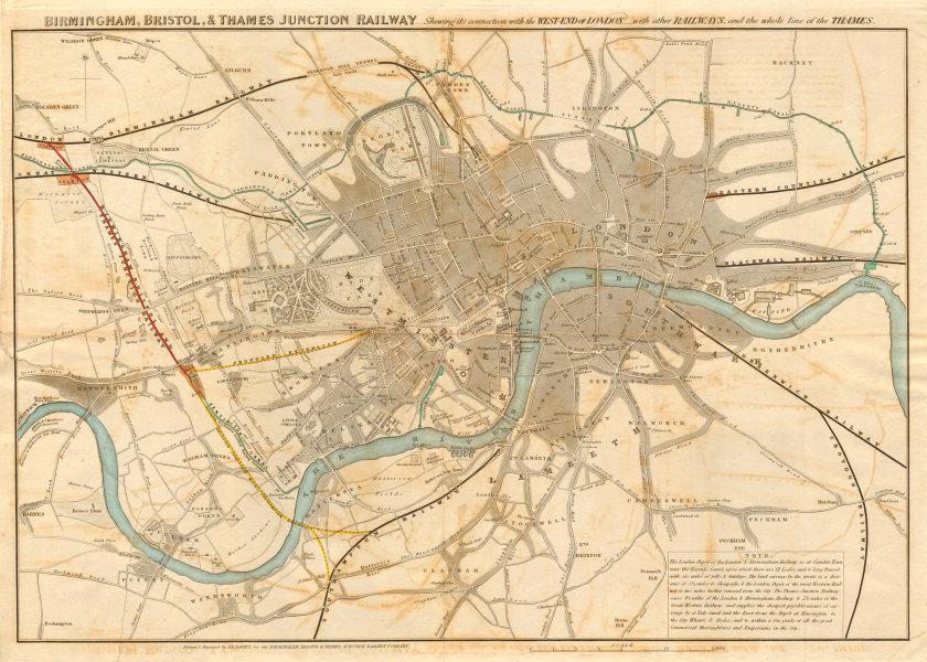 "Associate Product ""Birmingham, Bristol & Thames Junction Railway"". West London. DAVIES 1839 map"