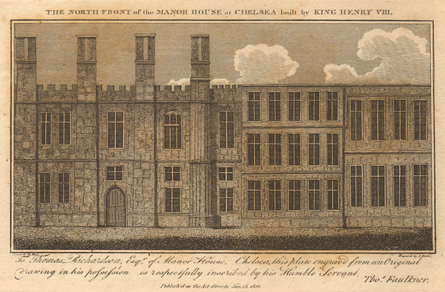 Associate Product The north front of the manor House at Chelsea built by King Henry VIII 1810