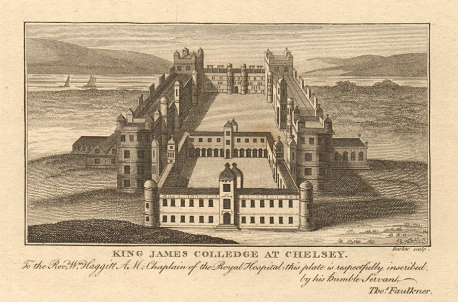 """Associate Product """"King James Colledge at Chelsey"""". Chelsea College. Site of Royal Hospital 1810"""