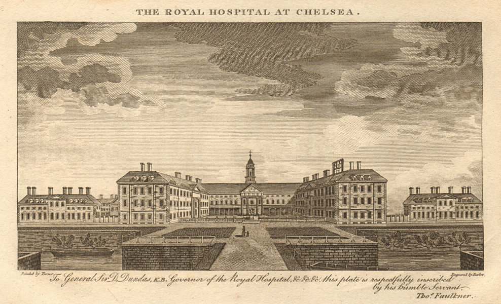Associate Product The Royal Hospital at Chelsea, London 1810 old antique vintage print picture